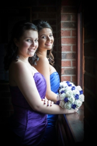 two beautiful bridesmaids in natural daylight